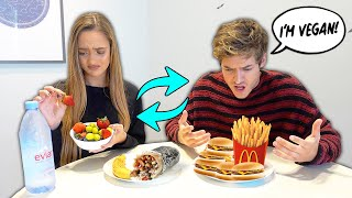 I Swapped DIETS With My Girlfriend For 24 Hours! *Bad Idea*