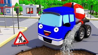 Cement Mixer Truck Excavator in the City | Construction Vehicles | Bip Bip Cars & Trucks for Kids