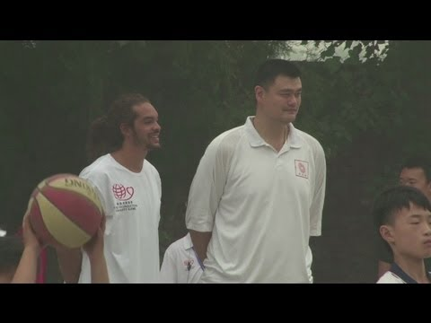 Ming and Noah visit school ahead of Yao Foundation Charity Game