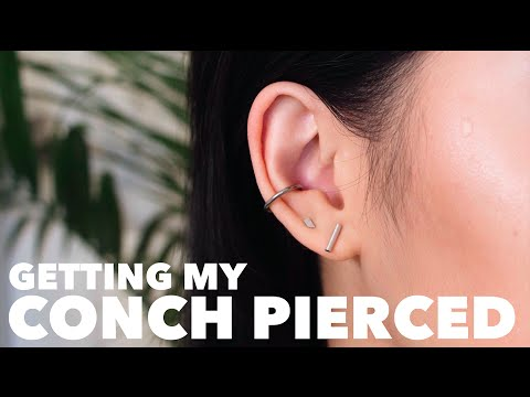 GETTING MY CONCH PIERCED! Vlog + Aftercare/Pain