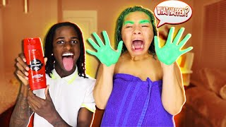 (EXTREME) HAIR DYE PRANK ON MY GIRLFRIEND! **SHE CRIES**