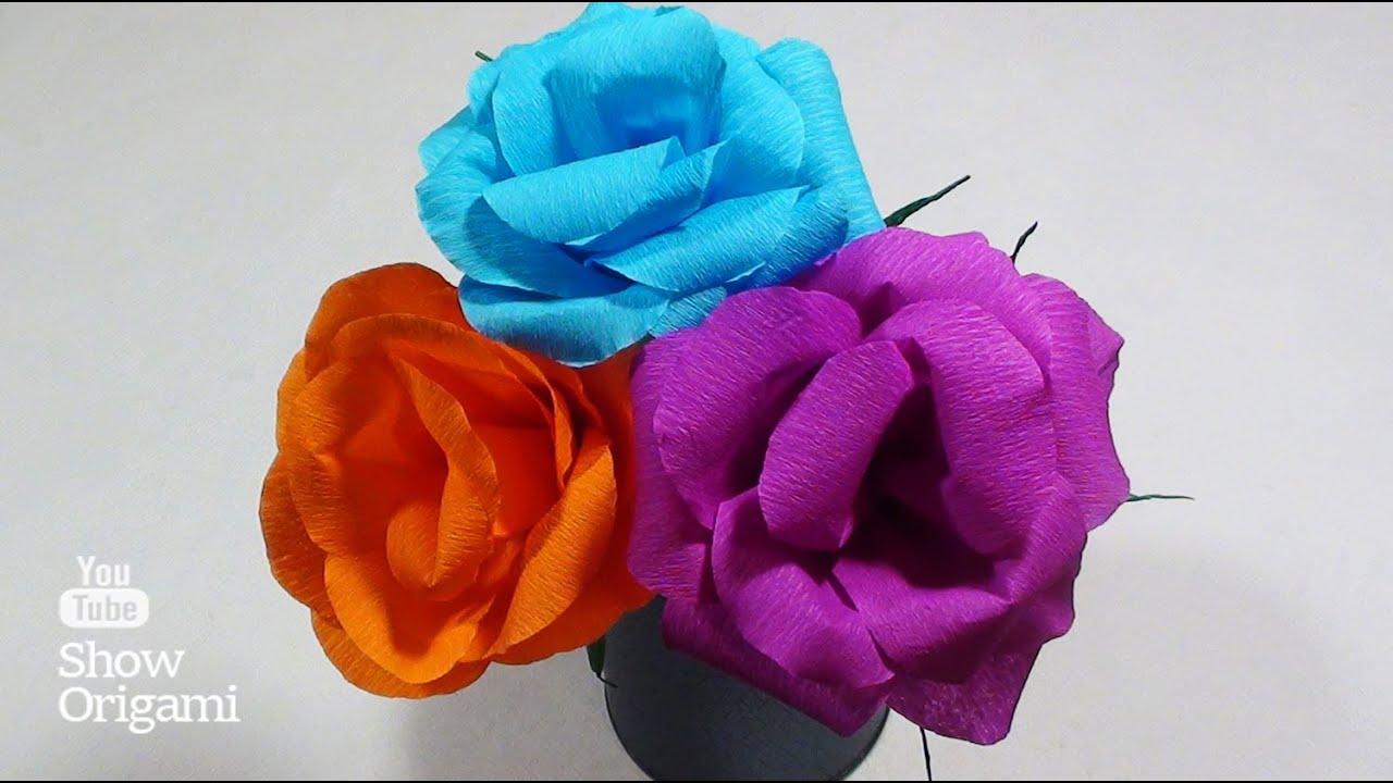 Розы из гофрированной бумаги самые простые