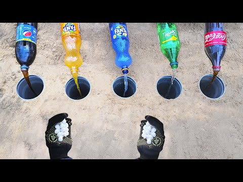 Experiment: Fanta, Pepsi, Sprite, Coke vs Mentos in Holes Underground! Colorful Elephant ToothPaste