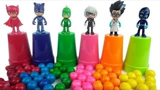 #Learn Colors with PJ Masks Toys and Halloween Candy!