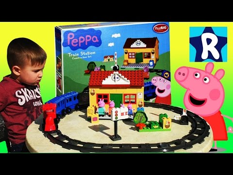 ★ СВИНКА ПЕППА Собираем Конструктор с Игрушками Peppa Pig Train Station Construction Set Lego Duplo