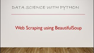 web scraping with python using BeautifulSoup