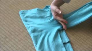 Fold long sleeved t-shirts using The KonMari Method