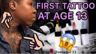 FIRST TATTOO AT AGE 13 !? | Leah Cashdaire