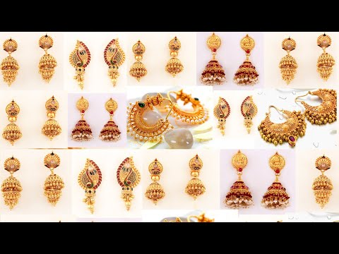 Latest Gold weddings and party wear earrings design with weight and price | sone ke jhumke simple de