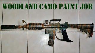 WOODLAND CAMO PAINTBALL GUN PAINT JOB: How To Video: Tippmann 98 Custom M4