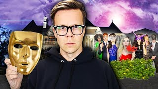 Breaking into a GIANT Masquerade Ball in Disguise at HACKER MANSION!  (24 Hours Trapped Overnight)