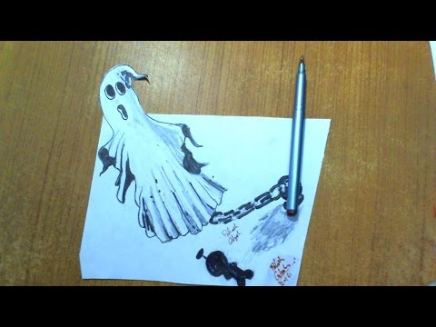 How to Draw a 3D Ghost Optical Illusion trick Art Drawing