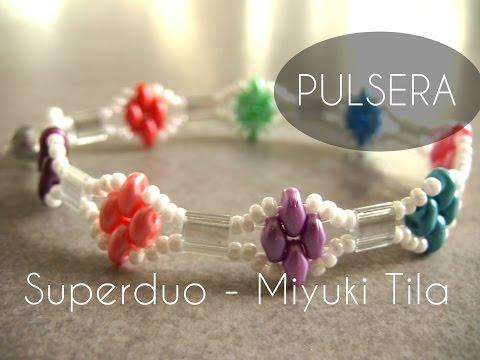 Abalorios Manualidades - Pulsera Superduo y Miyuki Tila
