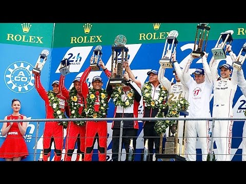 Le Mans 2015 Highlights Interviews Podium Porsche Nico Hülkenberg Earl Bamber Nick Tandy CARJAM