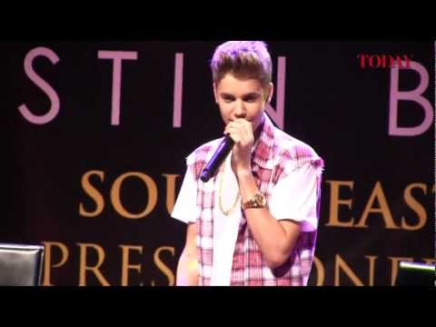 Justin Bieber South East Asia press conference for Believe Music Videos