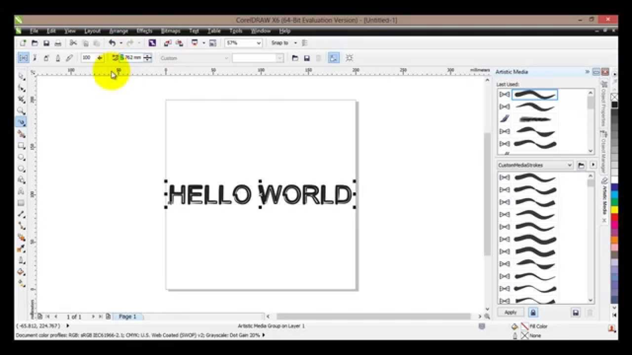 Artistic Media Tool in Coreldraw to Use Artistic Media Tool