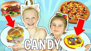 MAKING FOOD OUT OF CANDY CHALLENGE!! **learn how to make real food out of candy DIY**