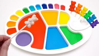 Dye Coloring Play Doh Gummy Teddy Bears | Finger Family Learn Color Crayola Play Doh Molds