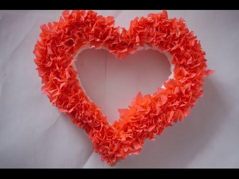 Из гофрированной бумаги сердце