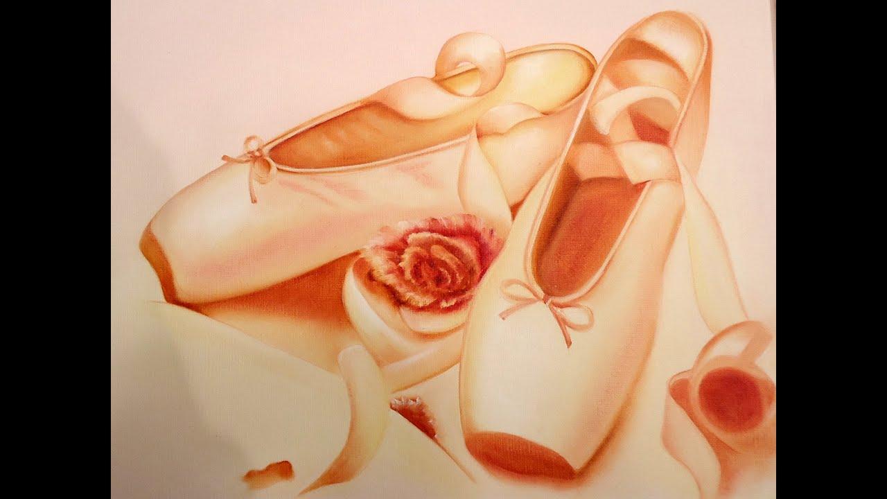 Pintar un cuadro de zapatilla de bailarina y rosas youtube - Cuadros para pintar ...