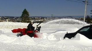 Snow blowing 28 inches snow with Kubota BX tractor