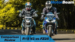 Yamaha R15 V3 vs Yamaha FZ25 - Comparison Review | MotorBeam
