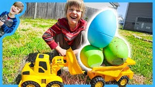 Dump Trucks GiANT Easter Egg Hunt!