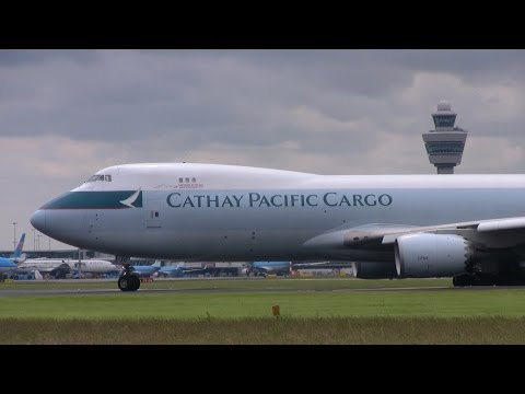 Cathay Pacific cargo 747-8F landing and take-off Amsterdam airport Schiphol