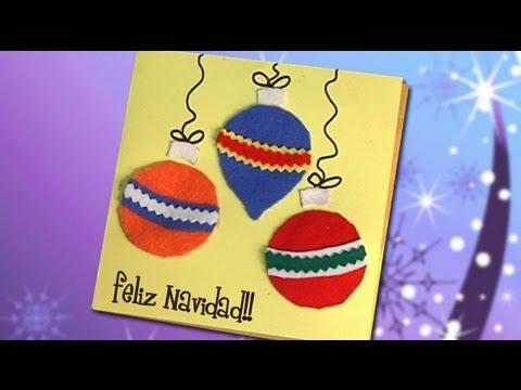 Idea de tarjeta con bolas de navidad manualidades youtube - Tarjetas de navidad hechas por ninos ...