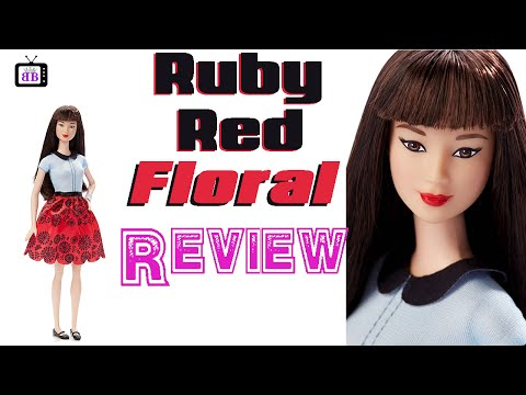 Ruby Red Floral Barbie Fashionistas 2016 #19 Doll Review- Plus Outfit Change & Rebody
