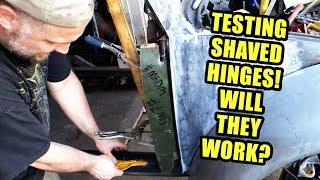 Test Fitting VW Beetle Shaved Door Hinges 4 - ROTTEN OLD 1956 - 100