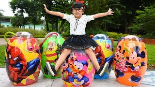 Be Bun Funny Opening Doraemon Egg and Spiderman Toys Finger Family Song Learn Colors