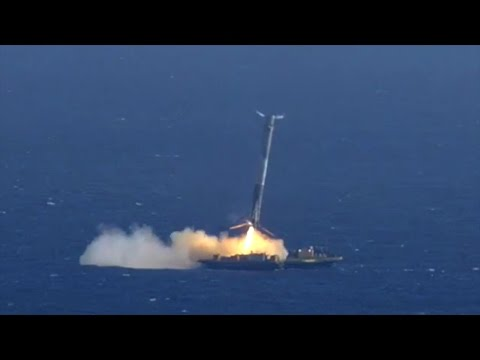 SpaceX Falcon 9 Landing & Explosion(close-up & slow motion)