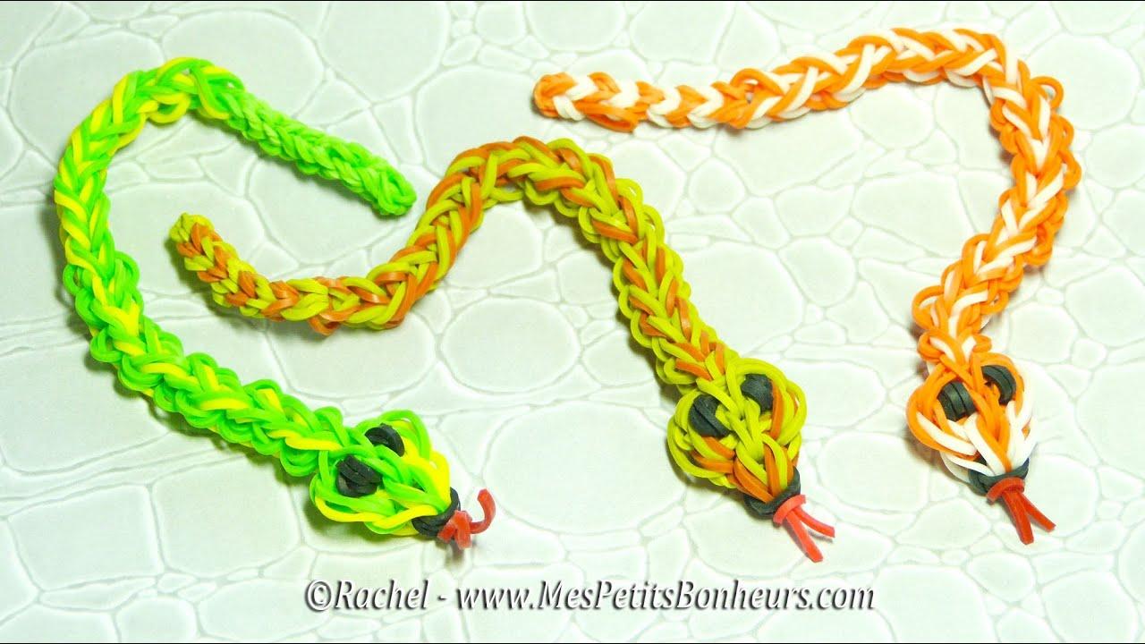 Serpent en lastiques rainbow loom tuto niveau avanc youtube - Comment faire les bracelet elastique ...