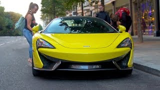 HOOTERS Babe Driving Stunning Yellow McLaren 570S in London!