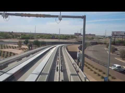 PHX Sky Harbor Intl. Airport 'SKYTRAIN' daytime ride. 1080p HD, 44th St.-East Economy- Terminal 4