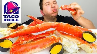 King Crab Legs With Taco Bell Fire Hot Cheese Sauce • MUKBANG