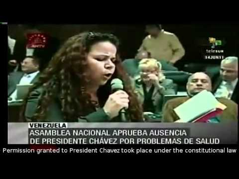 Venezuelan Assembly authorized President Chavez to leave the