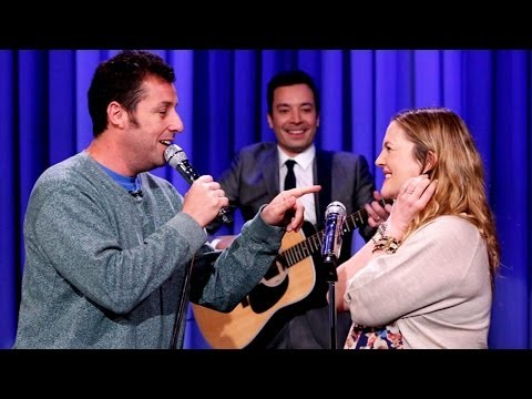 Adam Sandler Serenades Drew Barrymore Boobs In every 10 Years Song On Jimmy Fallon video