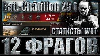 Bat.-Châtillon 25 t КАК ИГРАЮТ СТАТИСТЫ WOT (12 фрагов). Лучший бой Батчат 25т World of Tanks.
