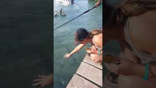Attempting to feed sardines to Tarpons in Caye Caulker