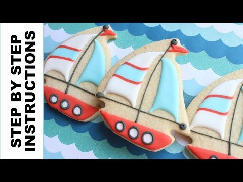 How to decorate a sailboat cookie - Easily decorate cookies with step by step instructions