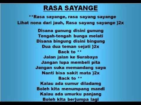 Lagu dan Tari Nusantara: RASA SAYANGE - Lagu Anak