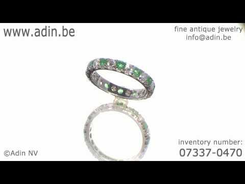 Estate white gold diamond emeralds wedding band (07337-0470)