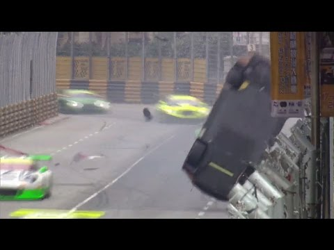 FIA GT World Cup 2016. Main Race Macau Grand Prix. Laurens Vanthoor Huge Crash Flip