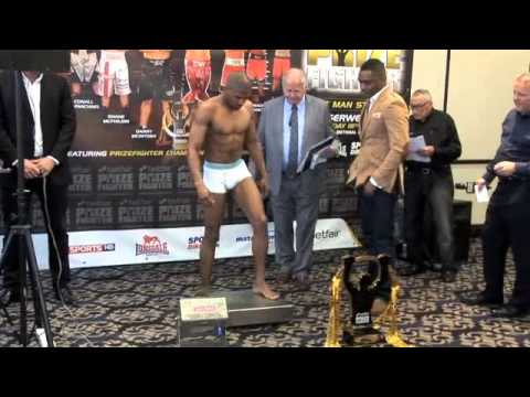 WEIGH IN WITH THE NATURAL LARRY EKUNDAYO V HARRY COSPOLITE /PRIZEFIGHTER THE CRUISERWEIGHTS