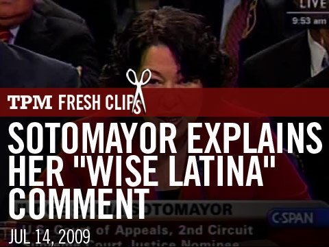 "Sotomayor Explains Her ""Wise Latina"" Comment"