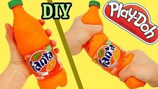 How to Make Play Doh Fanta Soda Bottle DIY