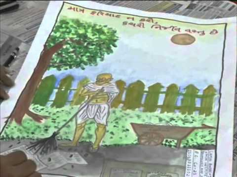 Students paint Mahatma Gandhi's vision of clean India on his death anniversary
