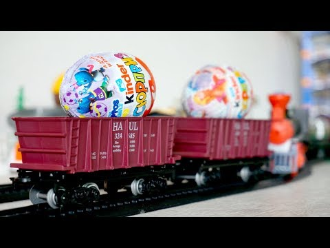 Toy train videos for children - train for kids - Kinder Surprise - Toys and videos for kids